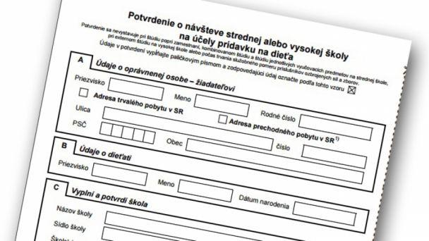 Oznámenie z ÚPSVaR - potvrdenie k rodinným prídavkom
